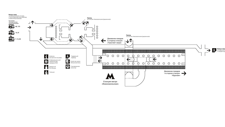 схема станция комсомольская метро
